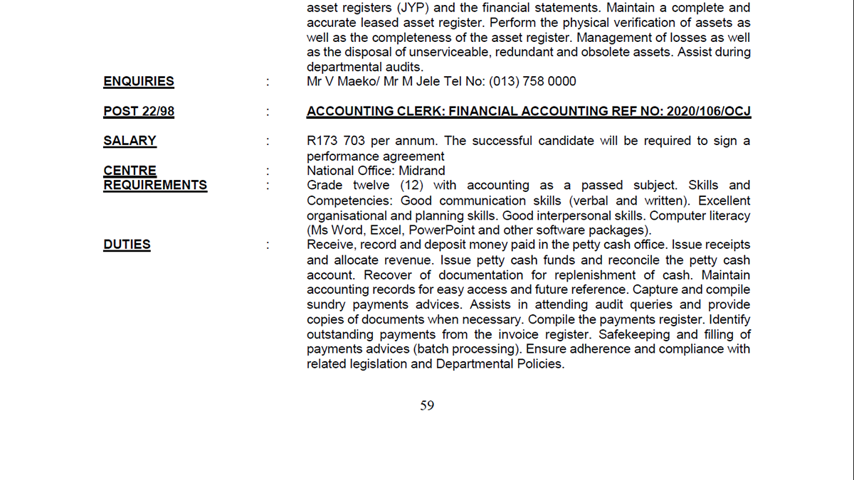 Office of the Chief Justice Accounting Clerk: Financial Accounting Services Midrand, Johannesburg