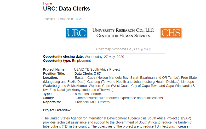 URC Data Clerks (8 months contract) Various Areas