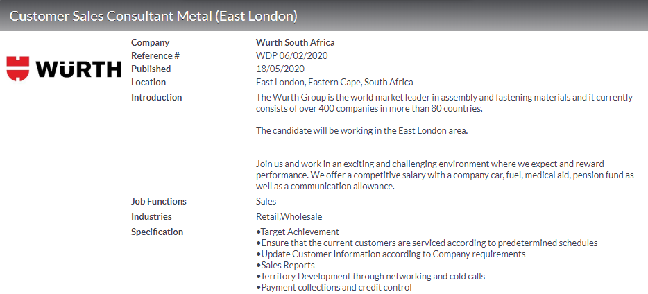 Wurth South Africa Customer Sales Consultant Metal East London